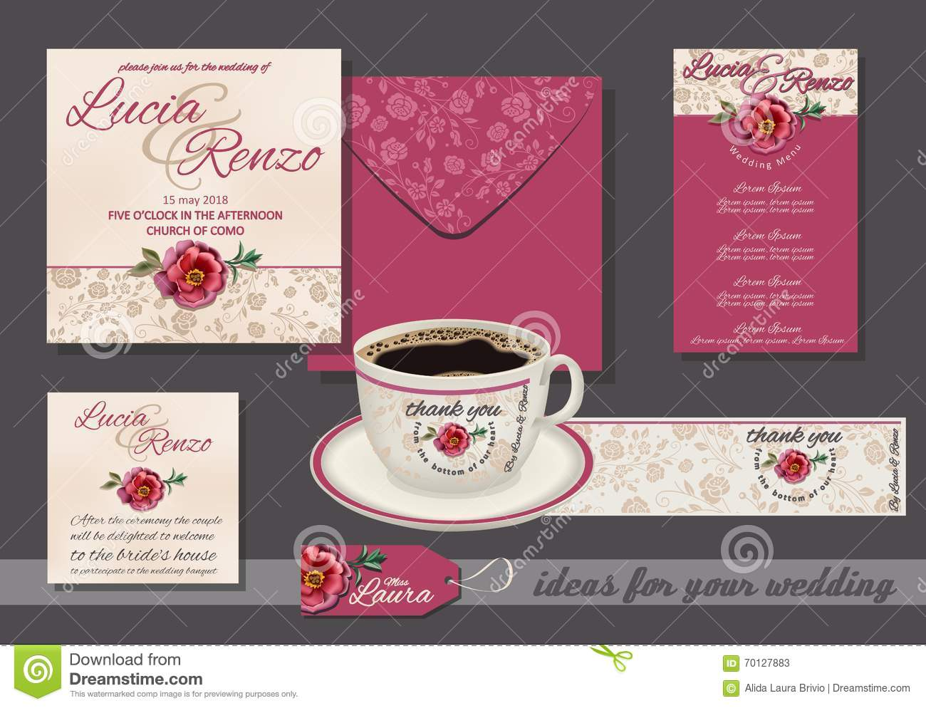 wedding invitation with red rose and small flowers with invitation