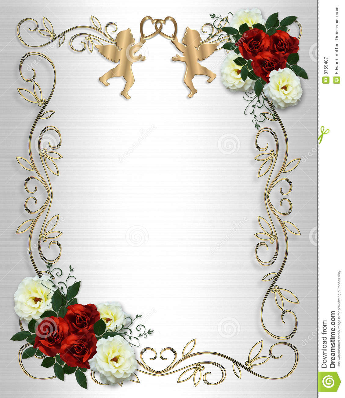 Royalty Free Stock Photography: Wedding invitation Red Roses Border on ...