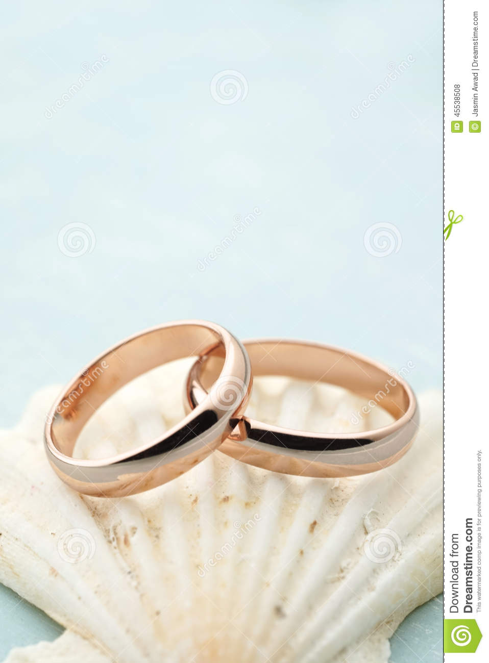 wedding invitation with rings and seahell stock photo