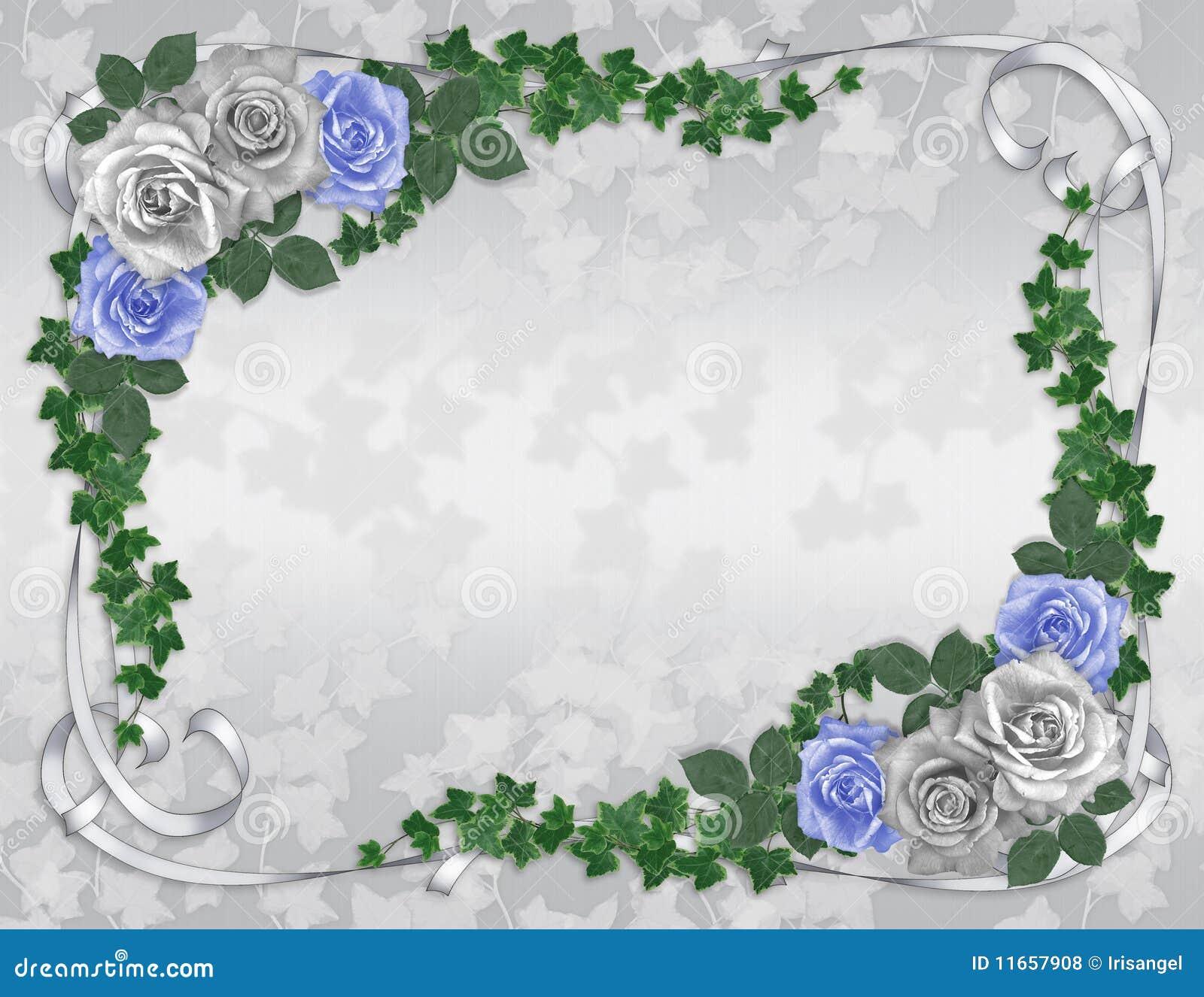 blue roses wedding invitation template stock illustration
