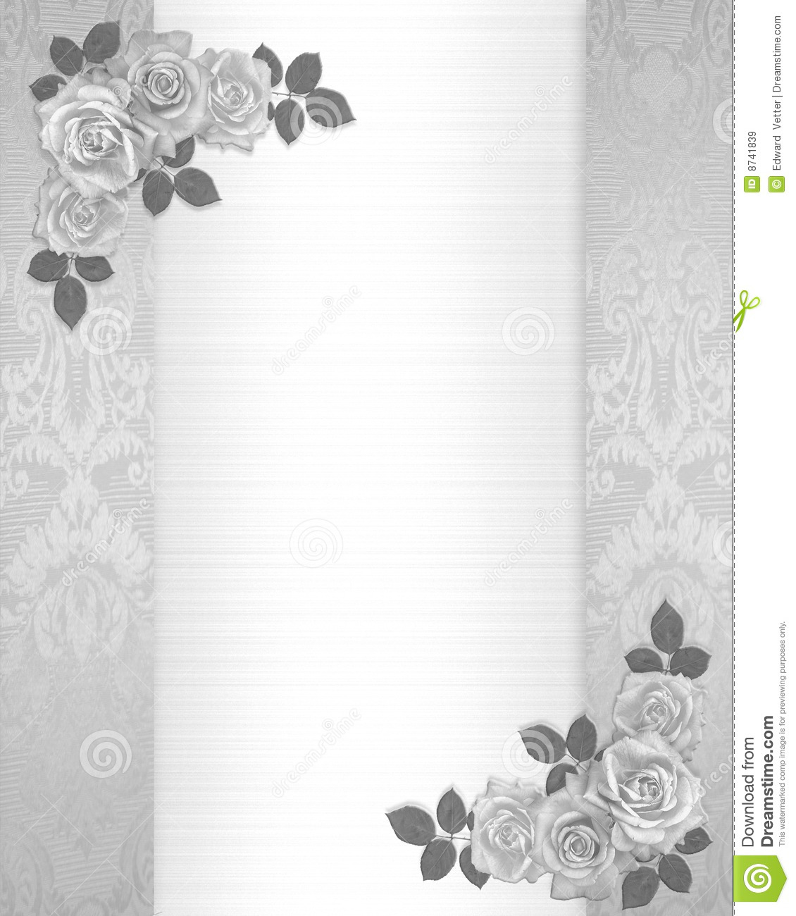 wedding invitation roses floral border royalty free stock