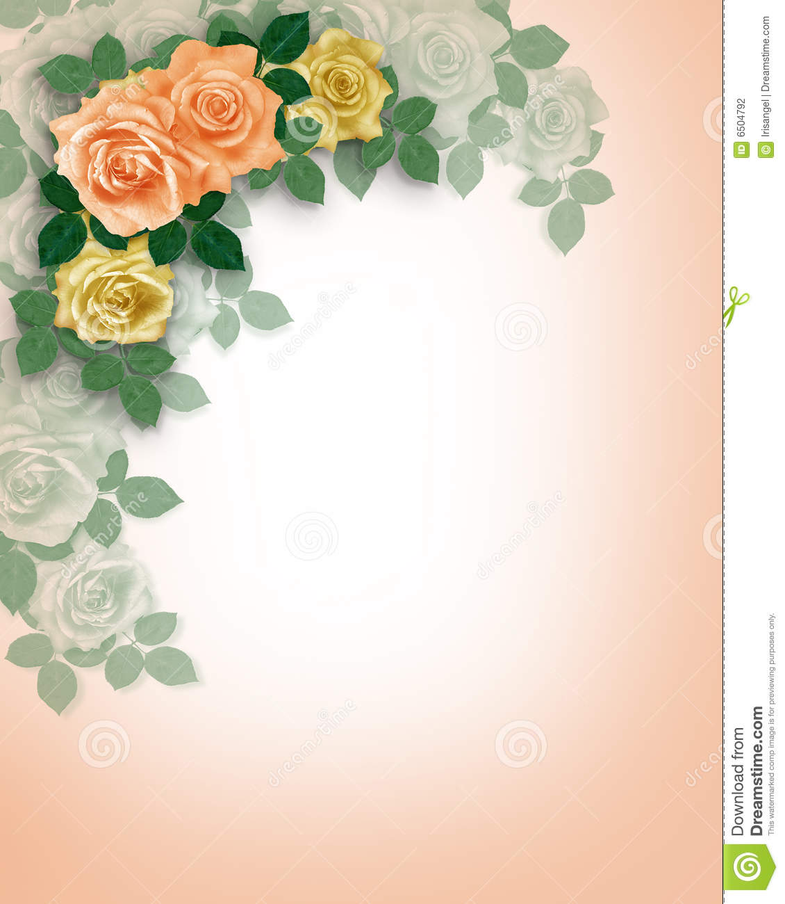 Wedding Invitation Roses Peach Stock Illustration Image