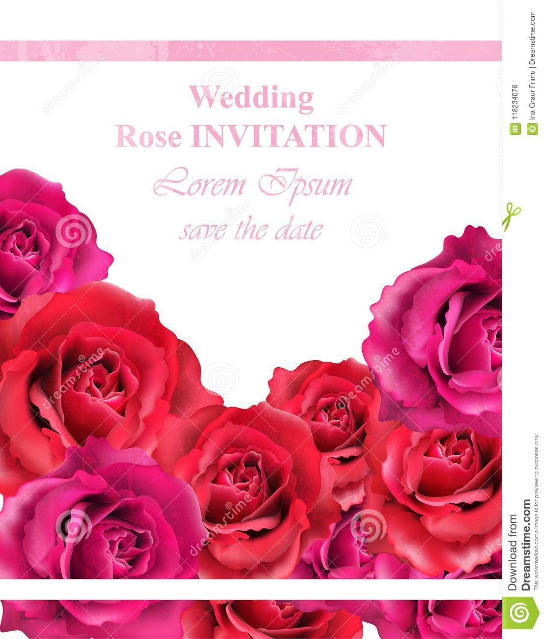 Wedding Invitation With Roses Vector. Beautiful Rose Flowers Decor ...