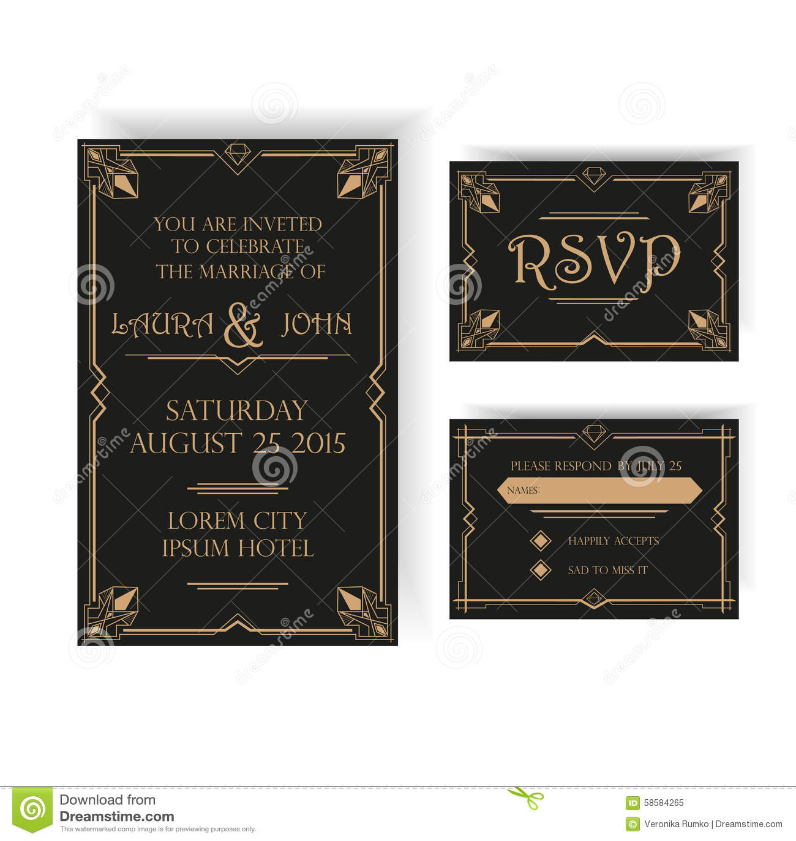wedding invitation and rsvp card art deco stock vector