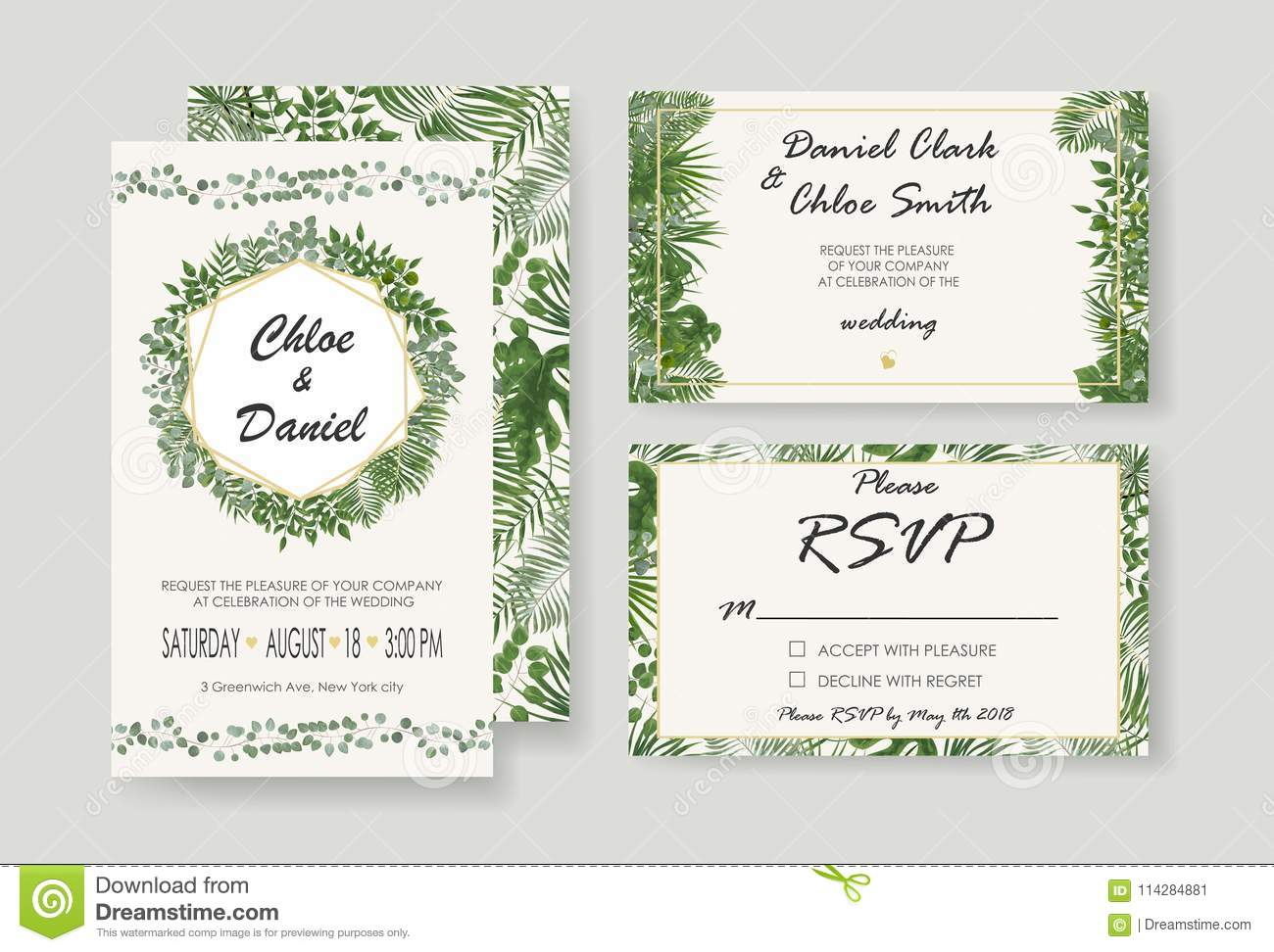 Modern Wedding Invitation Cards Template Vector 6