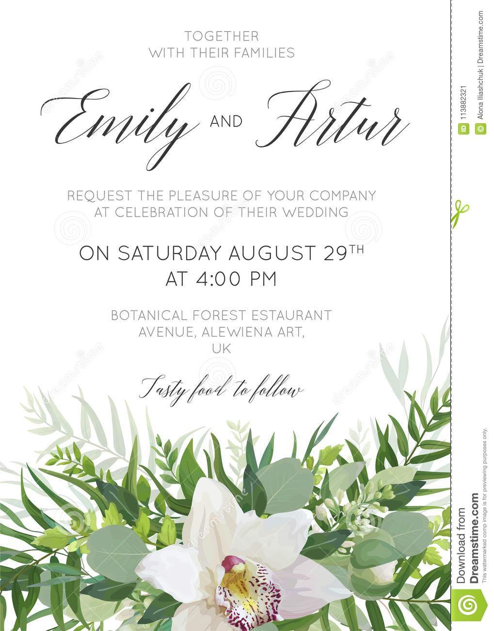 Wedding Invitation, Rsvp, Thank You Cards Floral Design With Gre ...