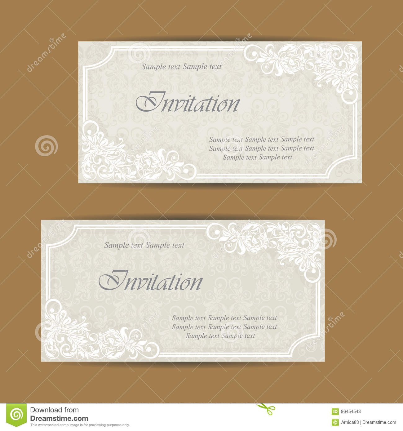 Wedding Invitation And Save The Date Cards Stock Vector