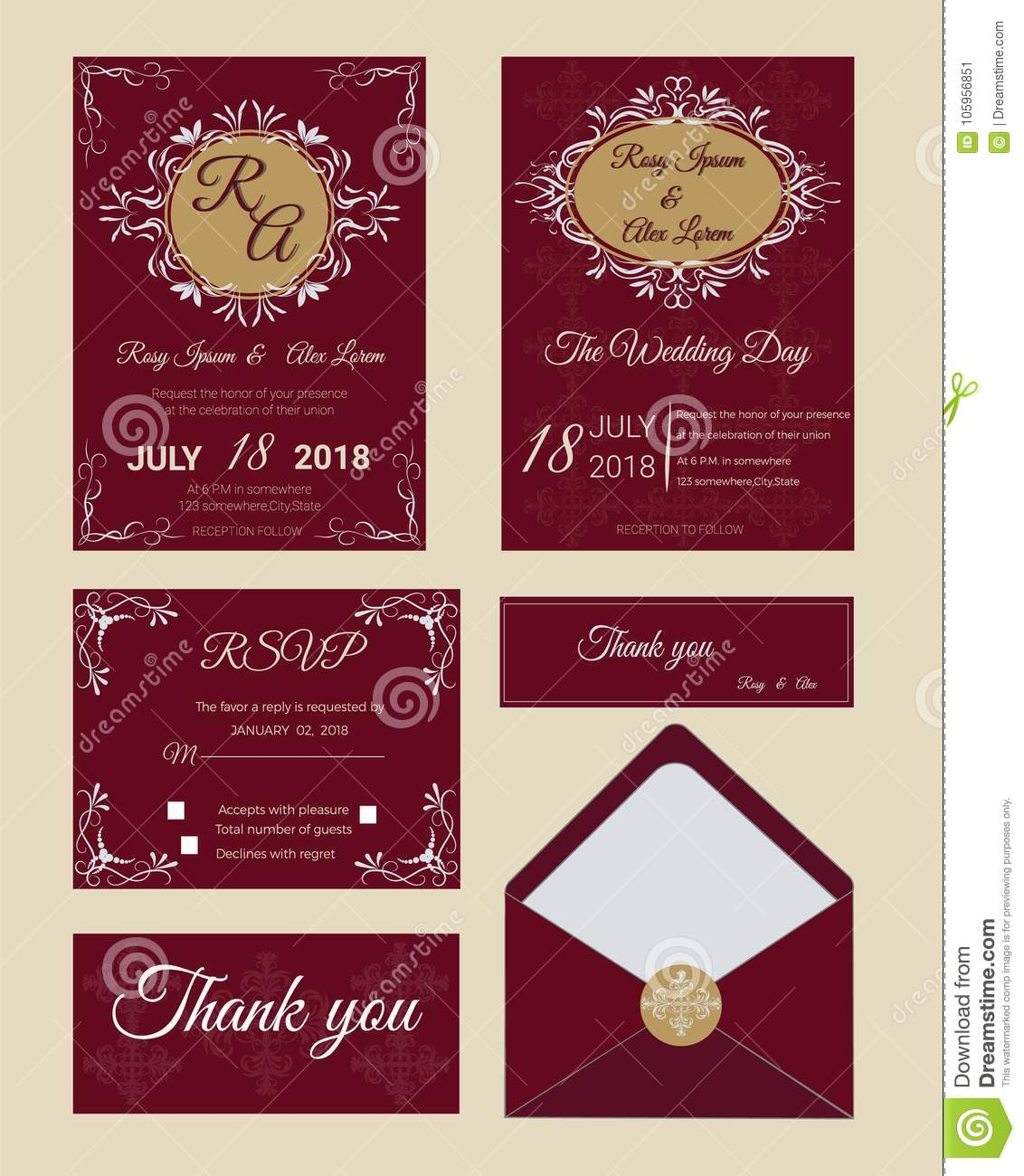Wedding Invitation , Save The Date, RSVP Card, Thank You Card, G ...
