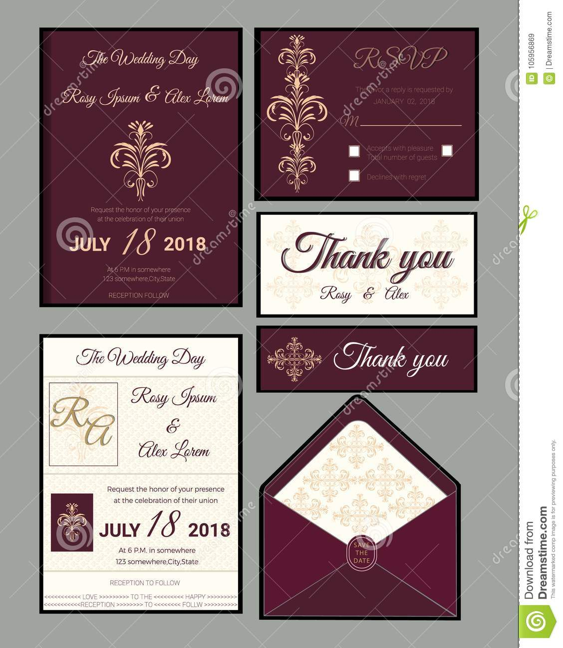 Wedding Invitation Save The Date Rsvp Card Thank You Cardgift