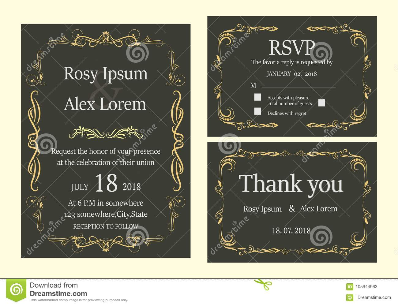 Wedding Invitation , Save The Date, RSVP Card, Thank You Card, T ...