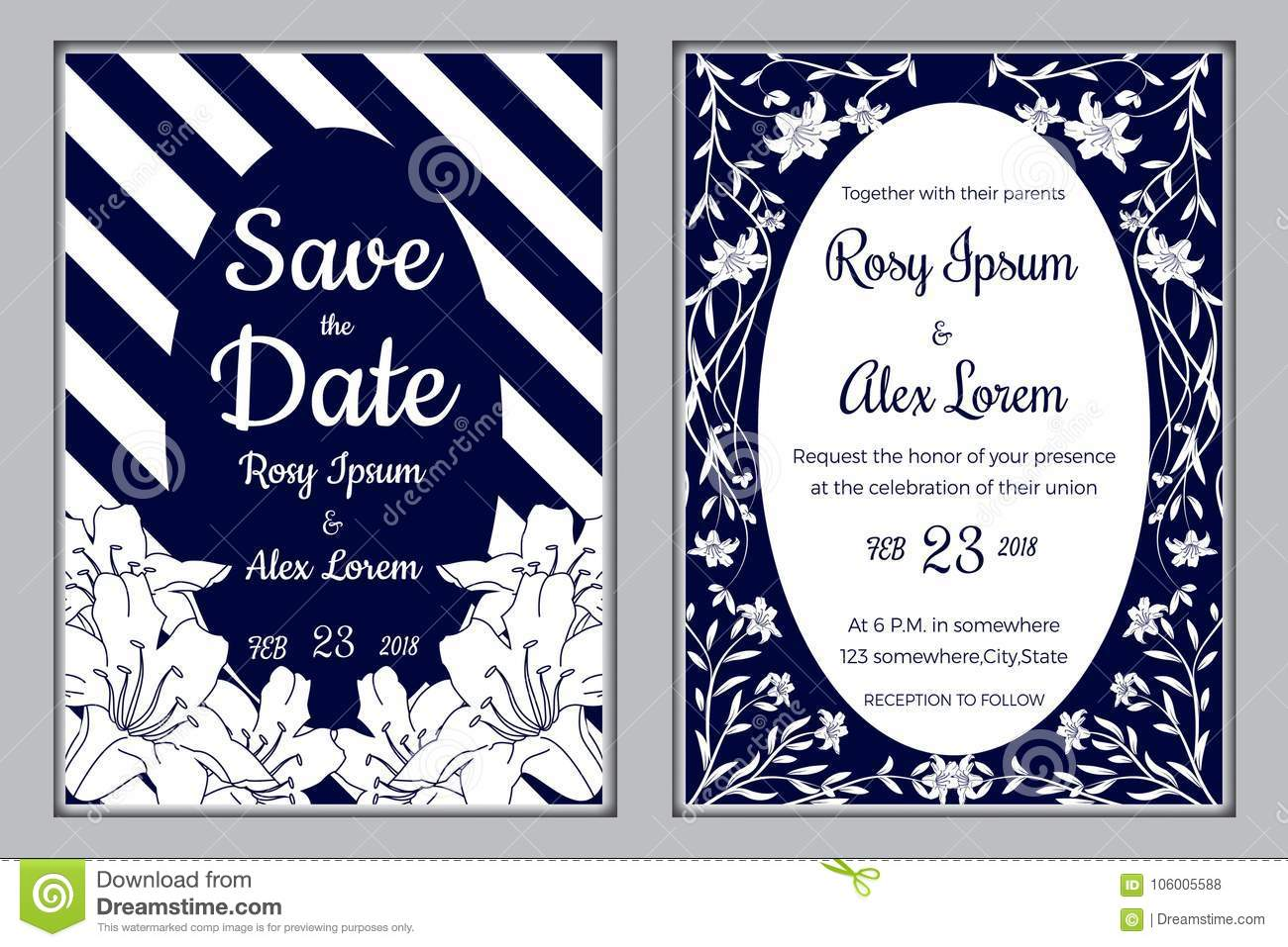 Wedding Invitation , Save The Date, RSVP Card, Thank You Stock ...