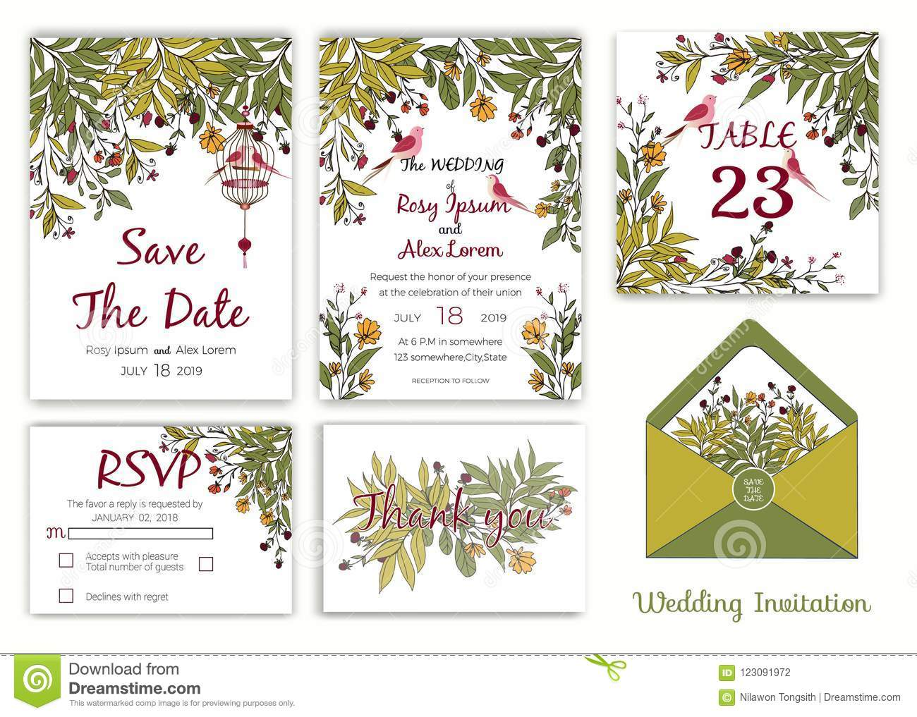 Wedding invitation , Save the date, RSVP card, Thank you card, T
