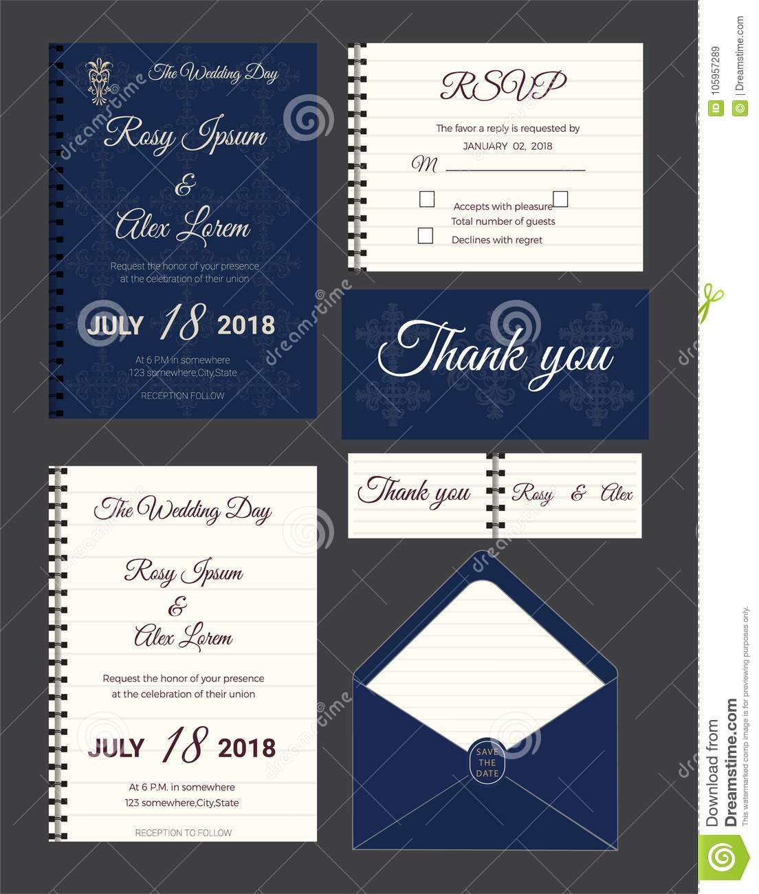 Wedding Invitation Save The Date Rsvp Card Thank You Card Gift Tags Place Cards Respond Card Stock Vector Illustration Of Date Ornament 105957289
