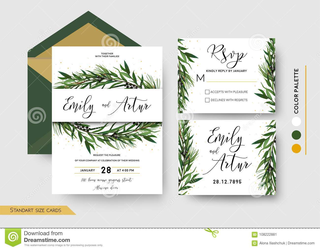 Wedding Invitation Save The Date, Rsvp Invite Card Design: Pine ...