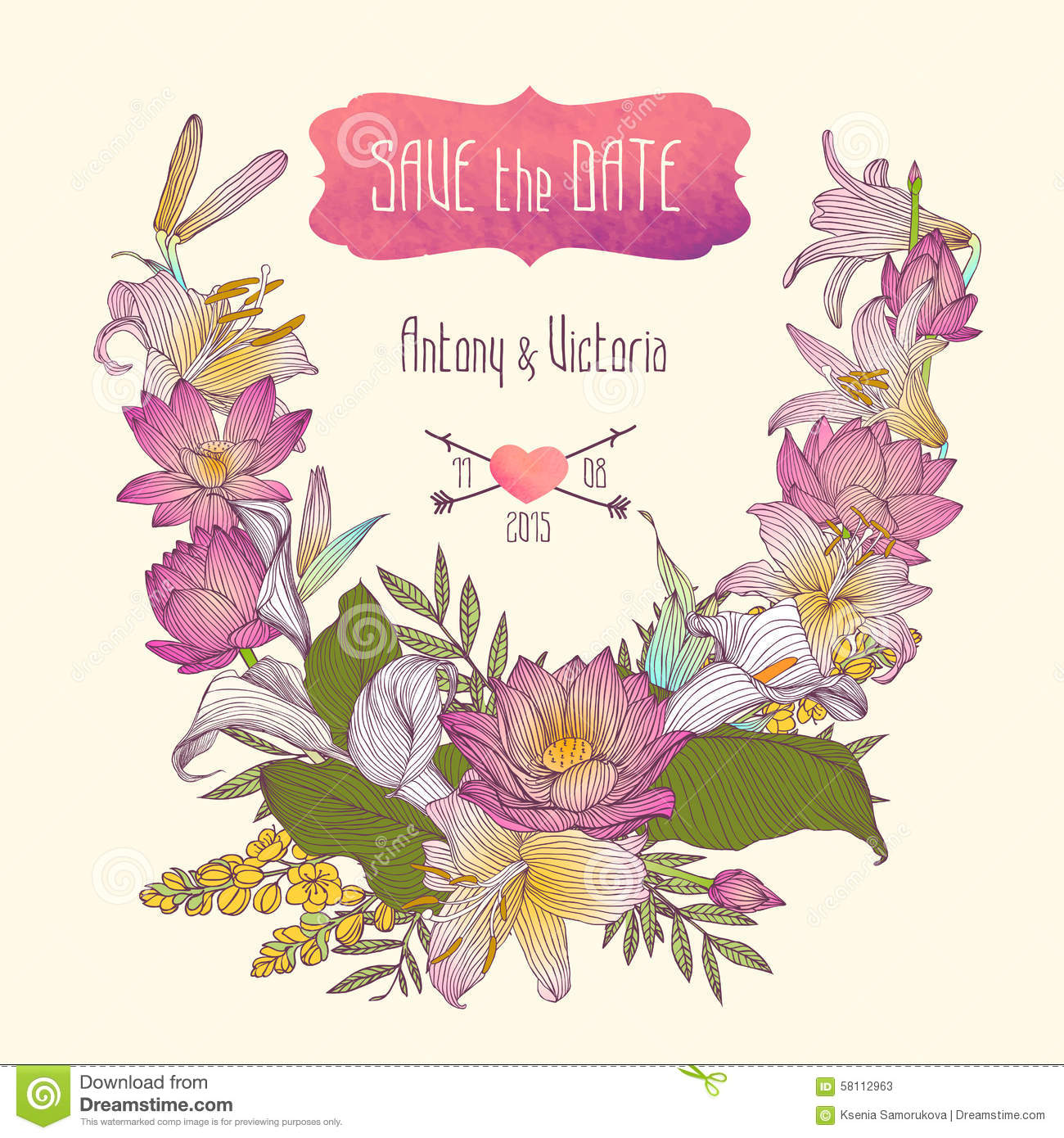 Save On Wedding Flowers: Wedding Invitation Save The Date Template With Flowers
