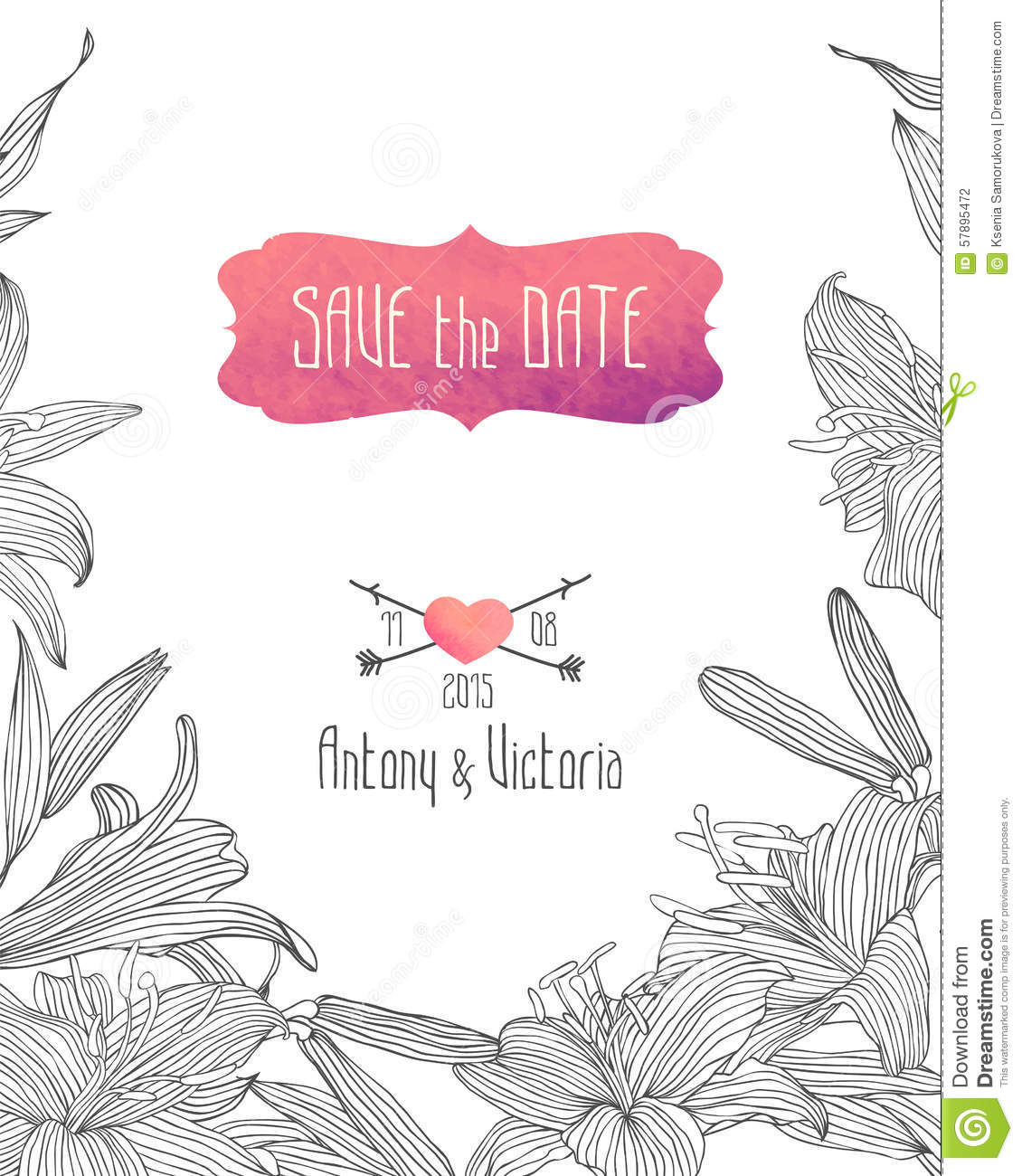 wedding invitation save the date template linear royal lily wedding invitation save the date template linear royal lily flowers