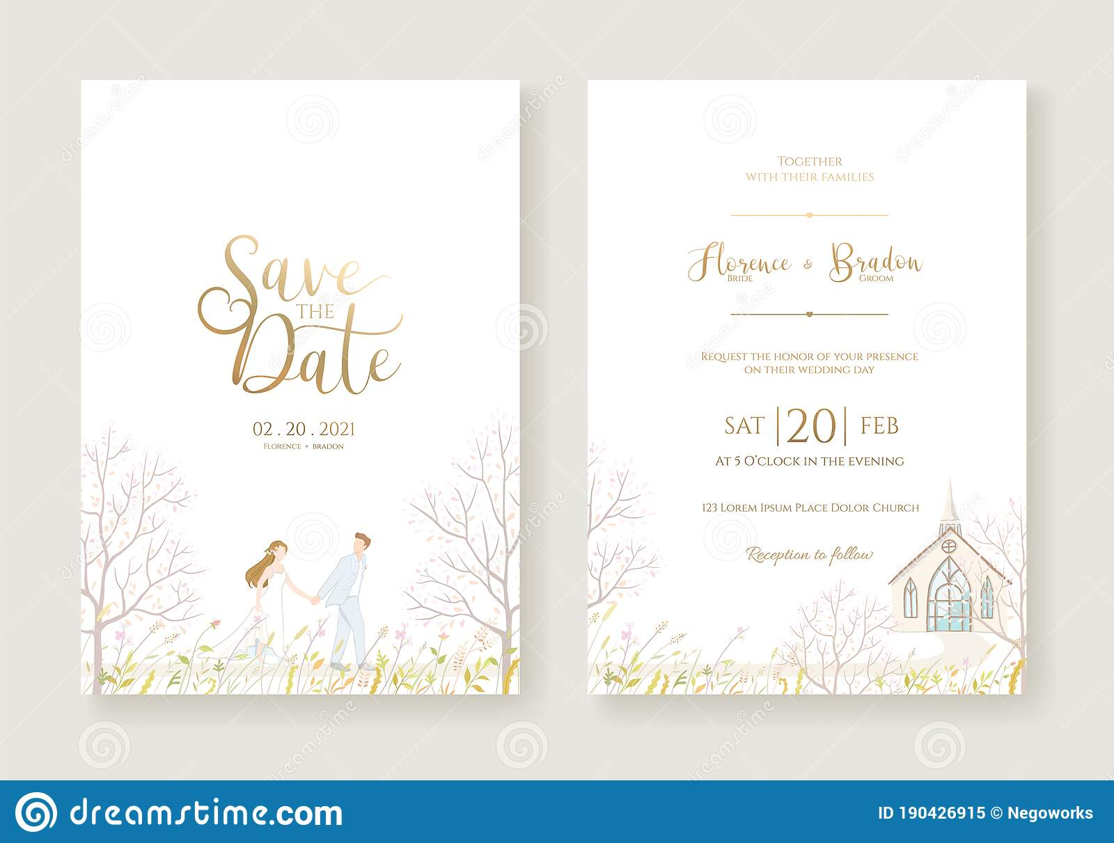 Wedding Invitation, Save The Date, Thank You, Rsvp Card Design Intended For Church Wedding Invitation Card Template