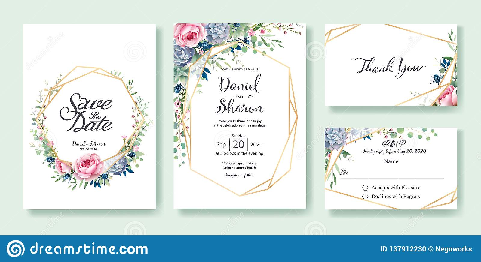 Wedding Invitation Template.Wedding Invitation Save The Date Thank You Rsvp Card Design