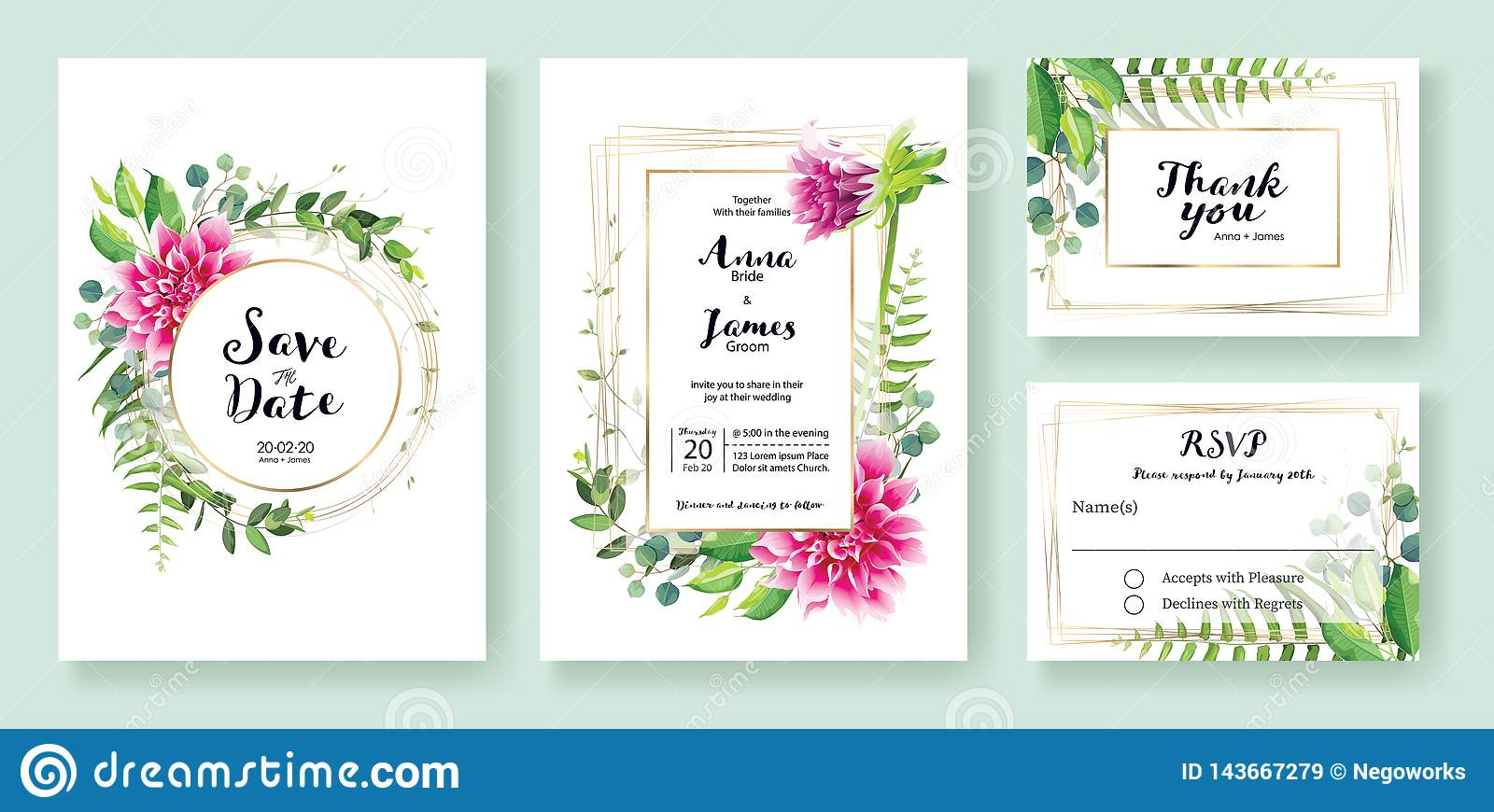 Wedding Invitation, save the date, thank you, rsvp card Design template. Vector. Pink dahlia flowers, fern leaf, silver dollar lea