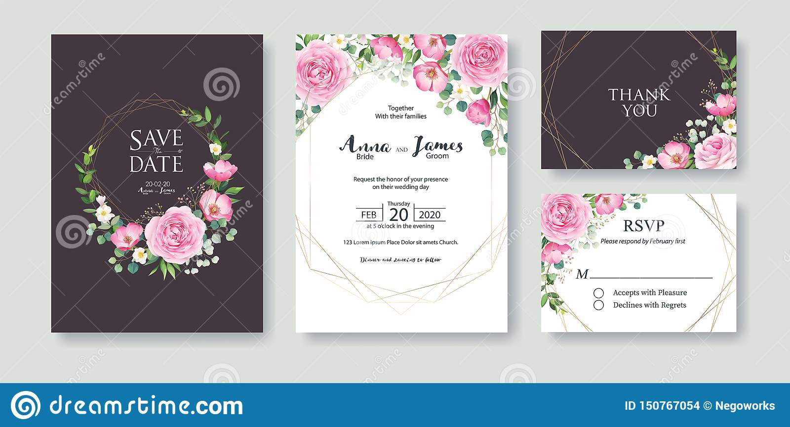 Wedding Invitation, save the date, thank you, rsvp card Design template. Vector. Summer flower, pink rose, silver dollar, Wax