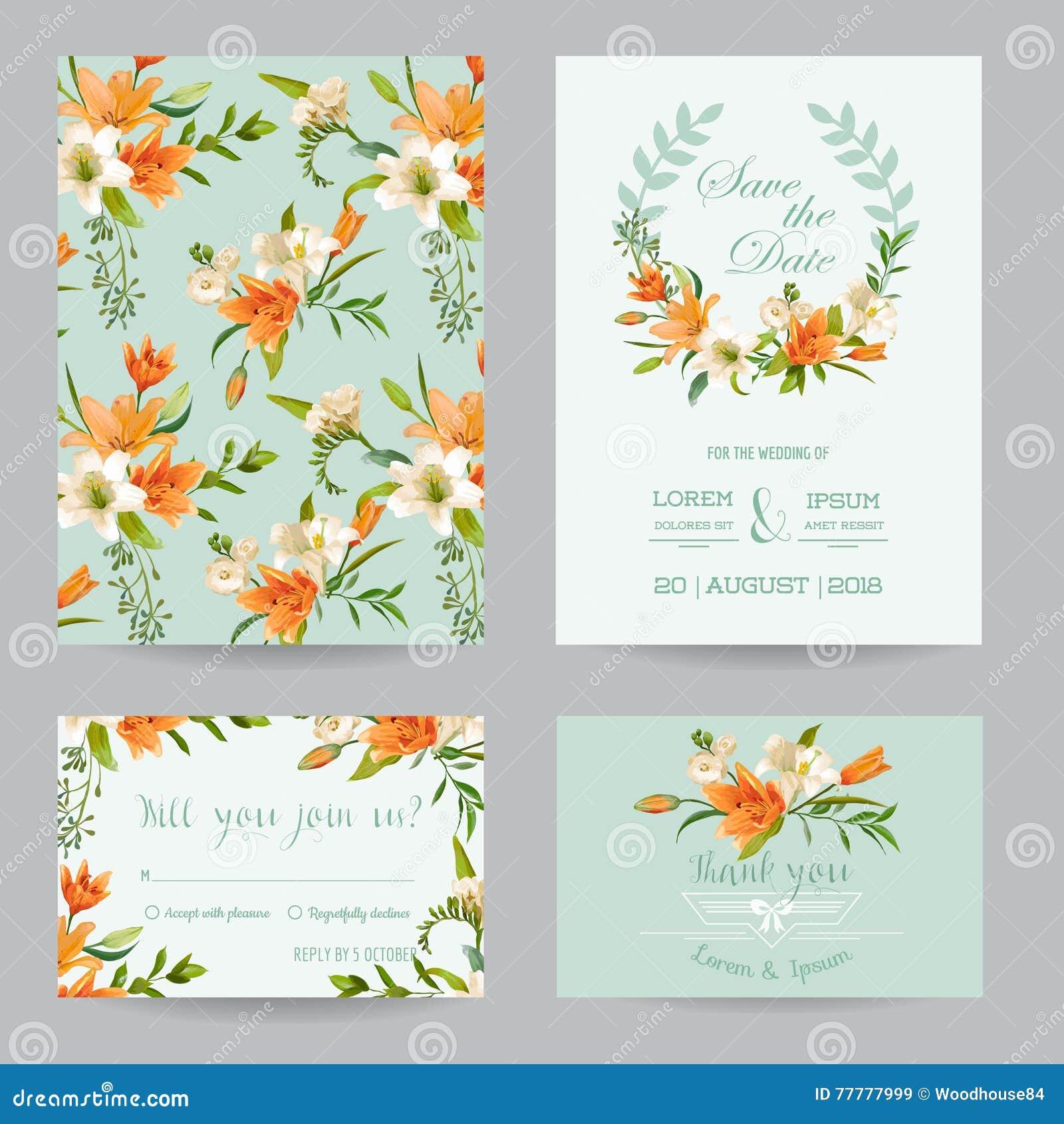 Wedding Invitation Set - Autumn Lily Floral