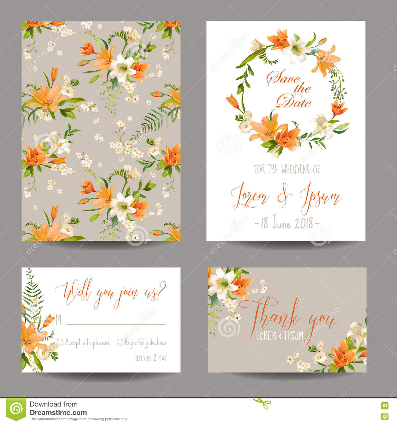 Wedding Invitation Set - Autumn Lily Floral Stock Vector ...