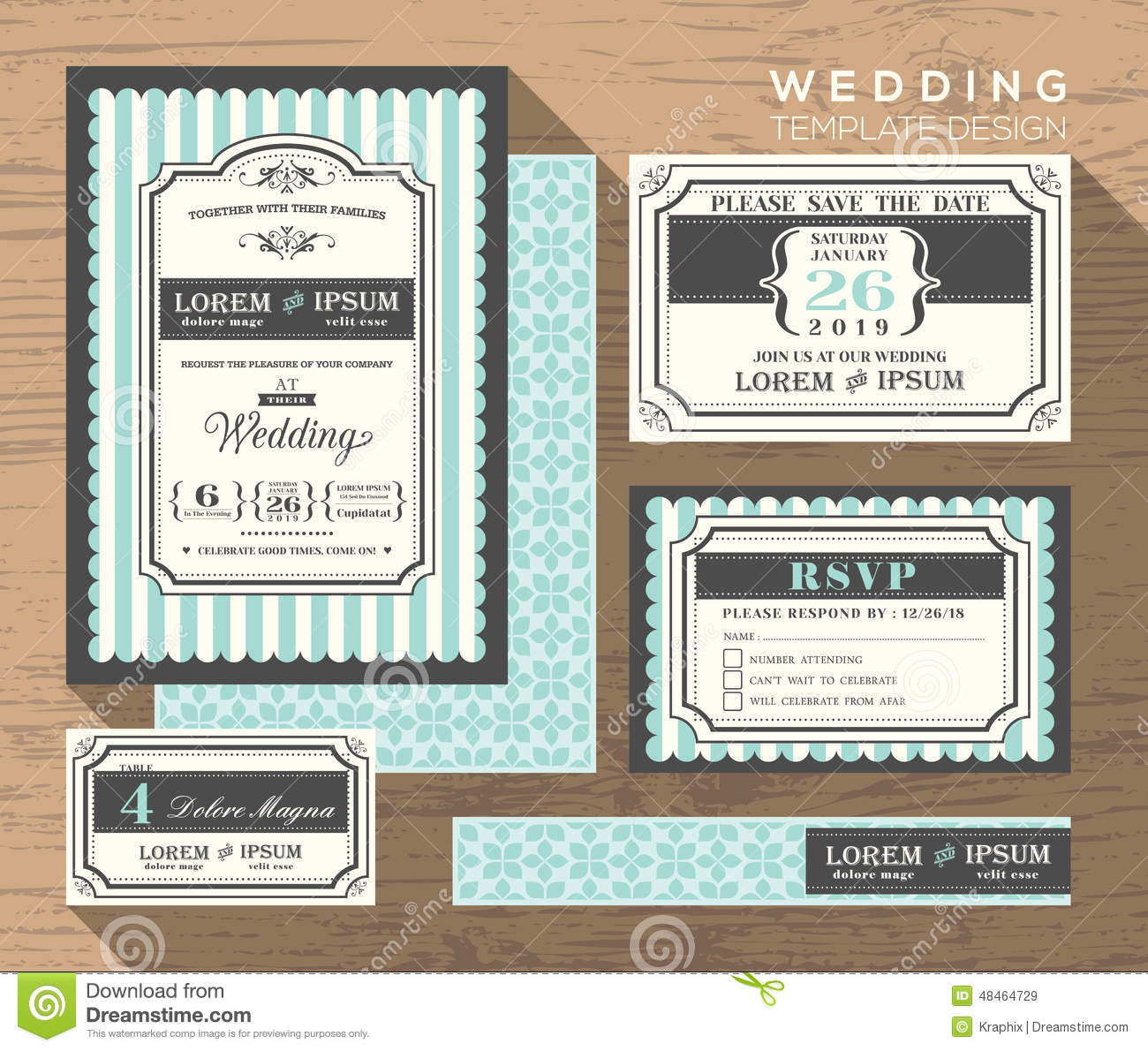 wedding invitation set design template vector place card response card
