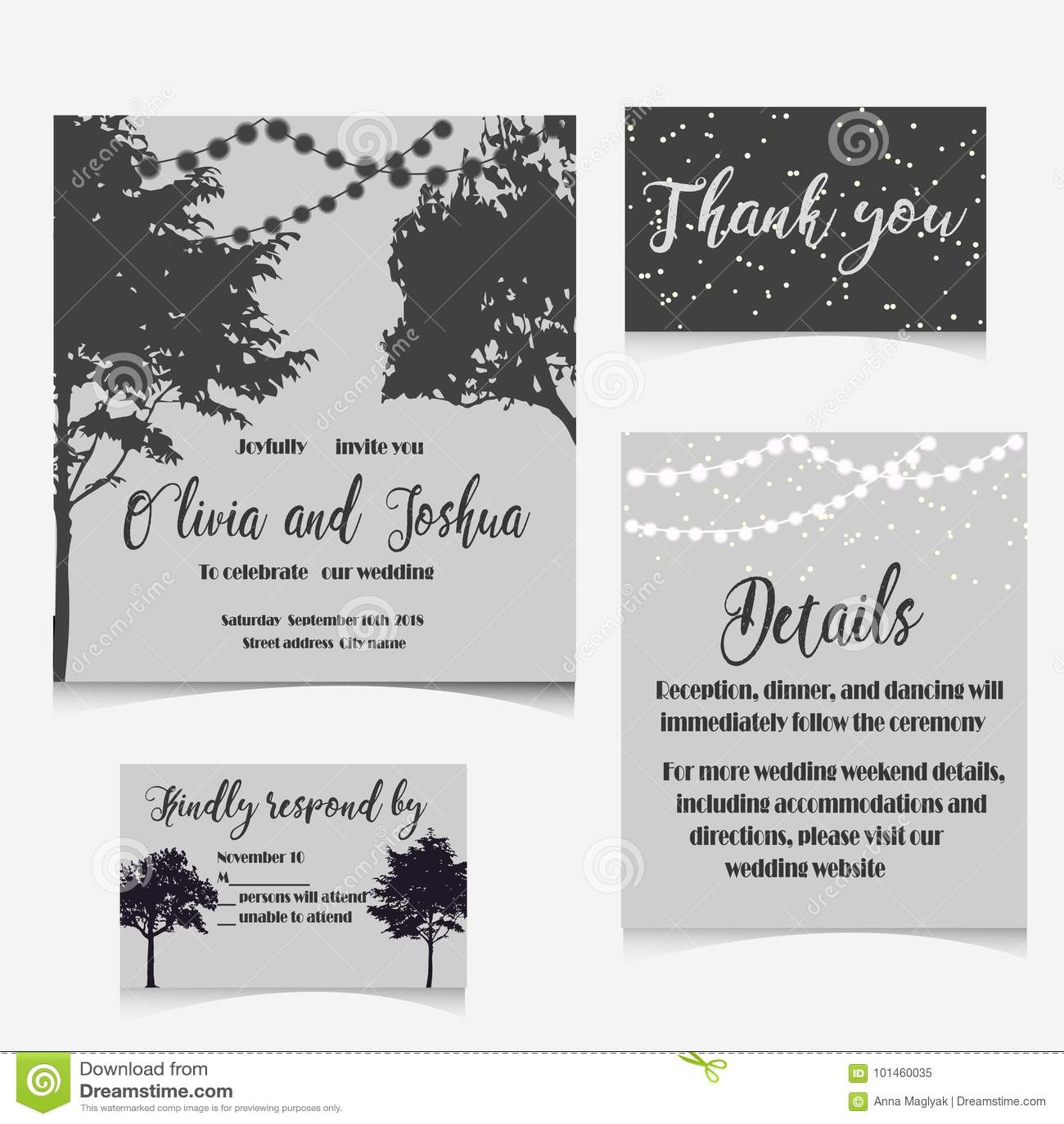Wedding Invitation Set With Mountains Invitation Card Stock