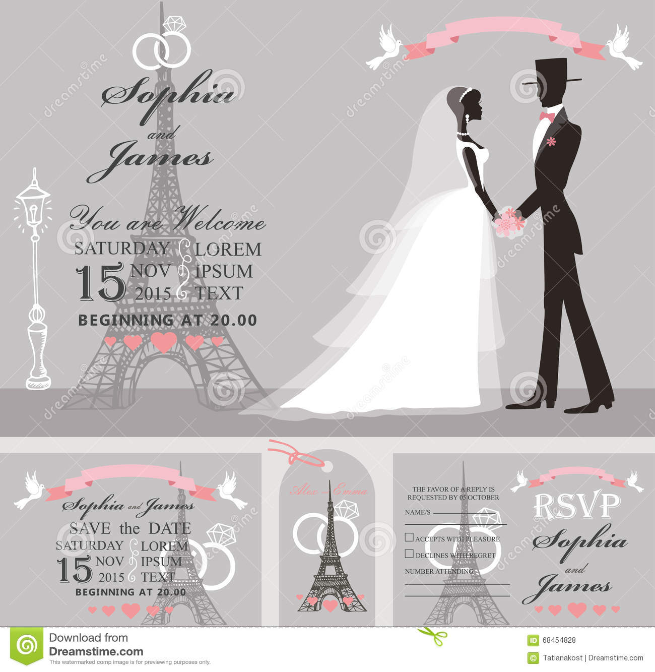 Wedding Invitation Set.Retro Bride,groom,Eiffel Tower Stock Vector ...