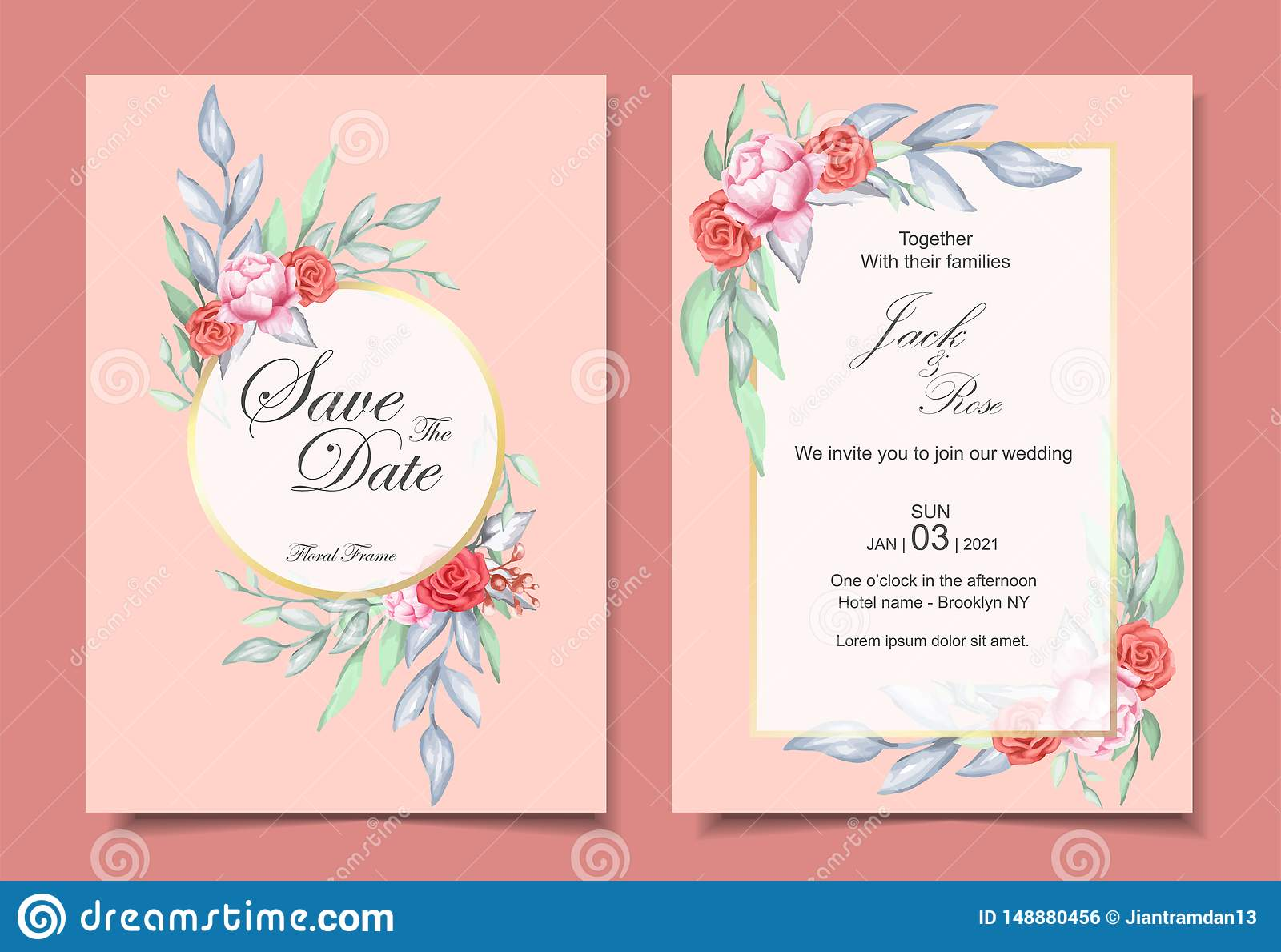 Wedding Invitation Set of Watercolor Floral Ornament and Golden Frame with Elegant Color Design Concept. Roses and Peony Flower