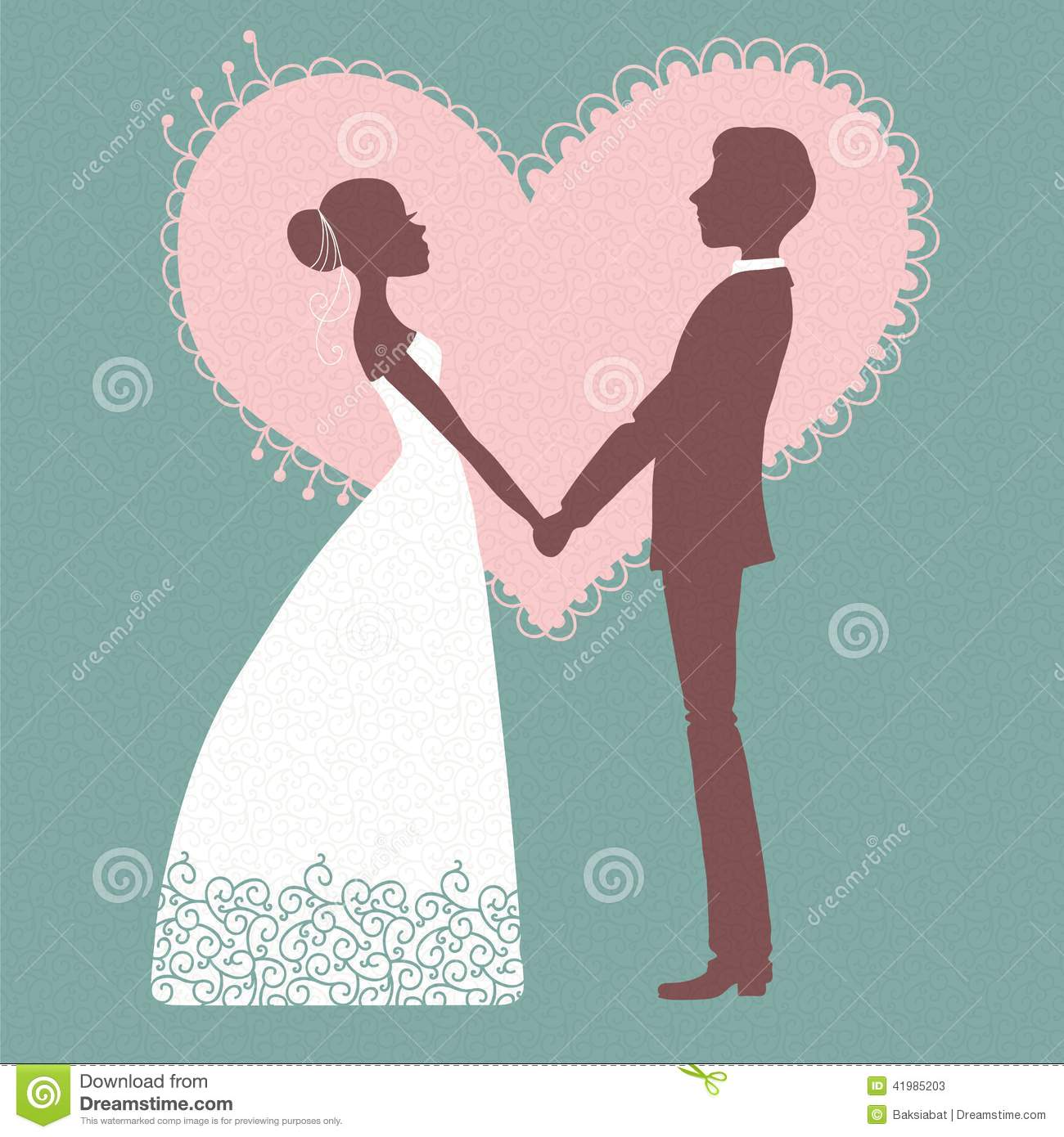 Wedding Invitation Silhouette Of Bride And Groom Stock Vector