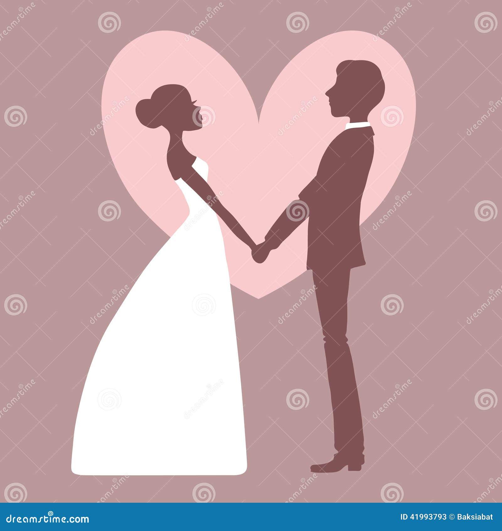 Wedding Invitation. Silhouette Of Bride And Groom Stock Vector ...