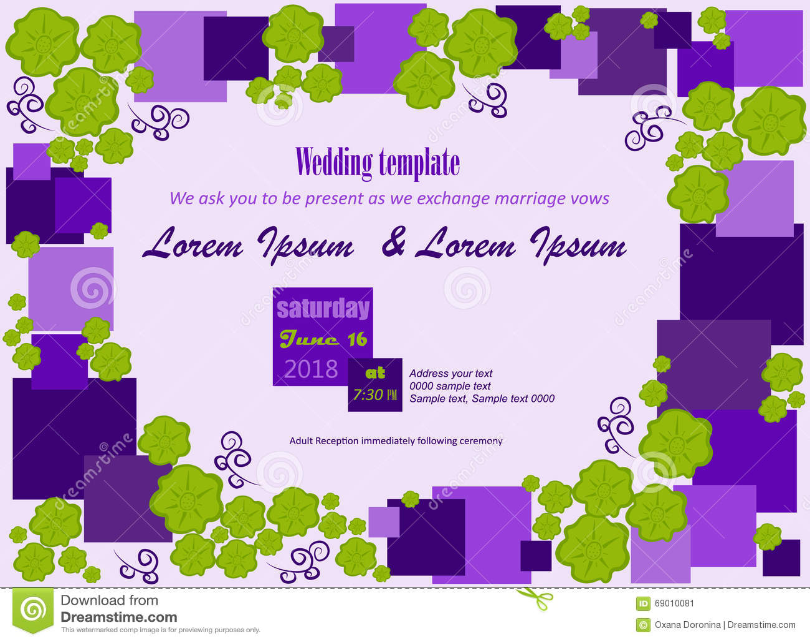 Wedding Invitation Squares Flowers Stock Vector - Illustration of ...