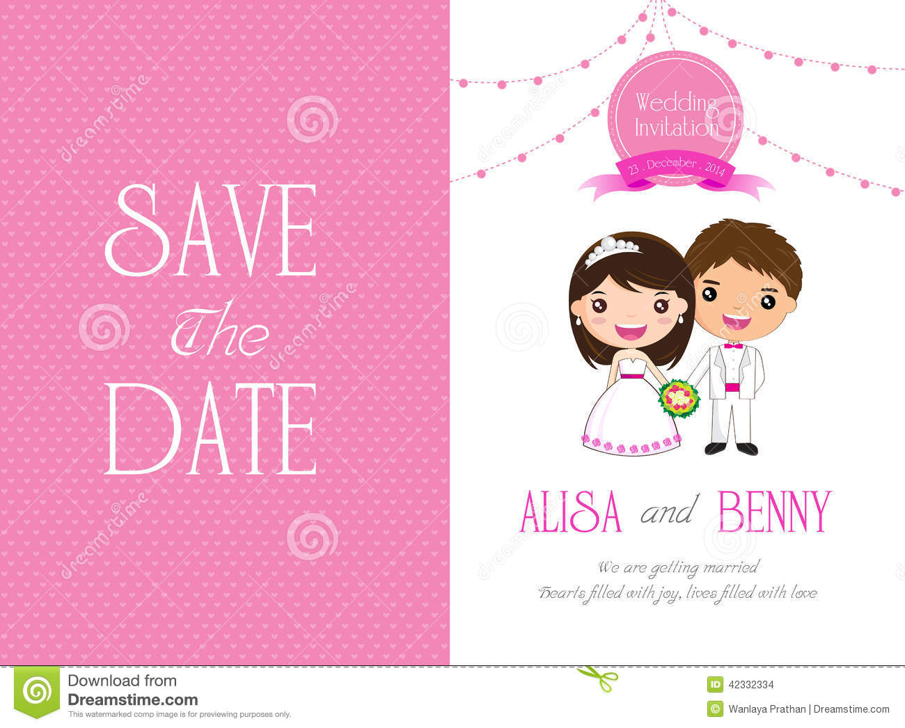Wedding Invitation Template Card Cartoon Stock Vector Illustration
