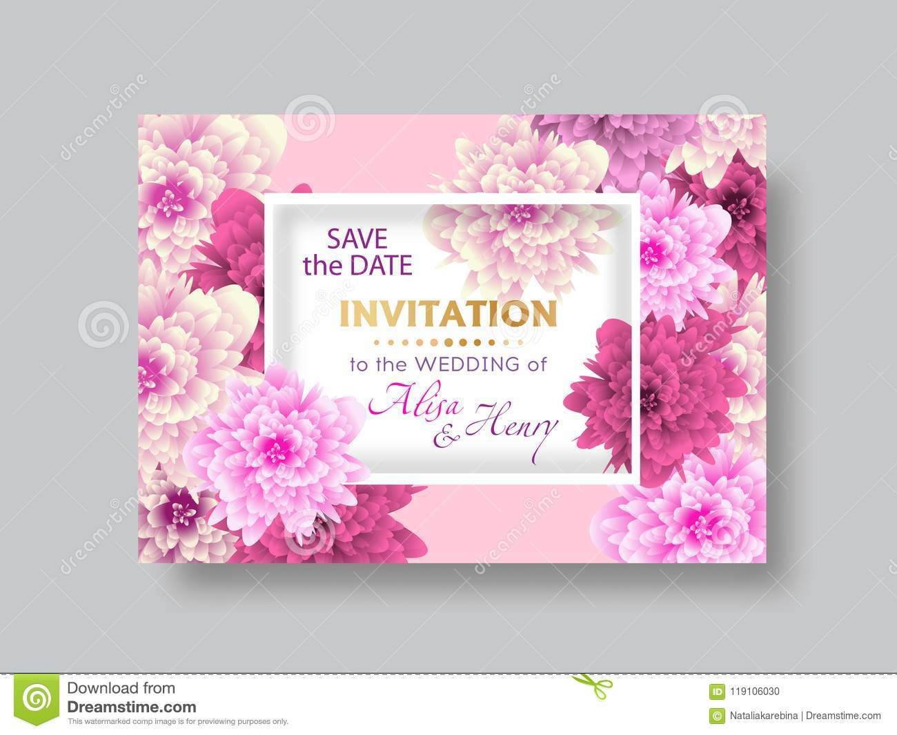 Wedding Invitation Template Elegant Background With Beautiful ...