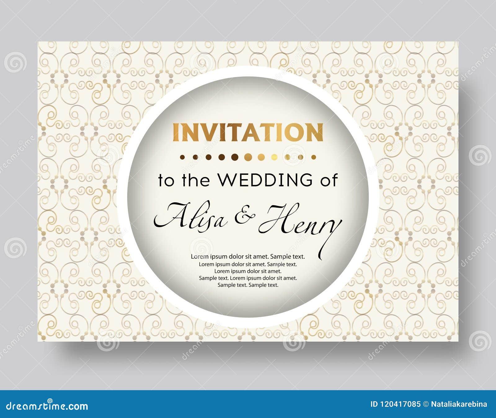 wedding invitation template elegant background with golden