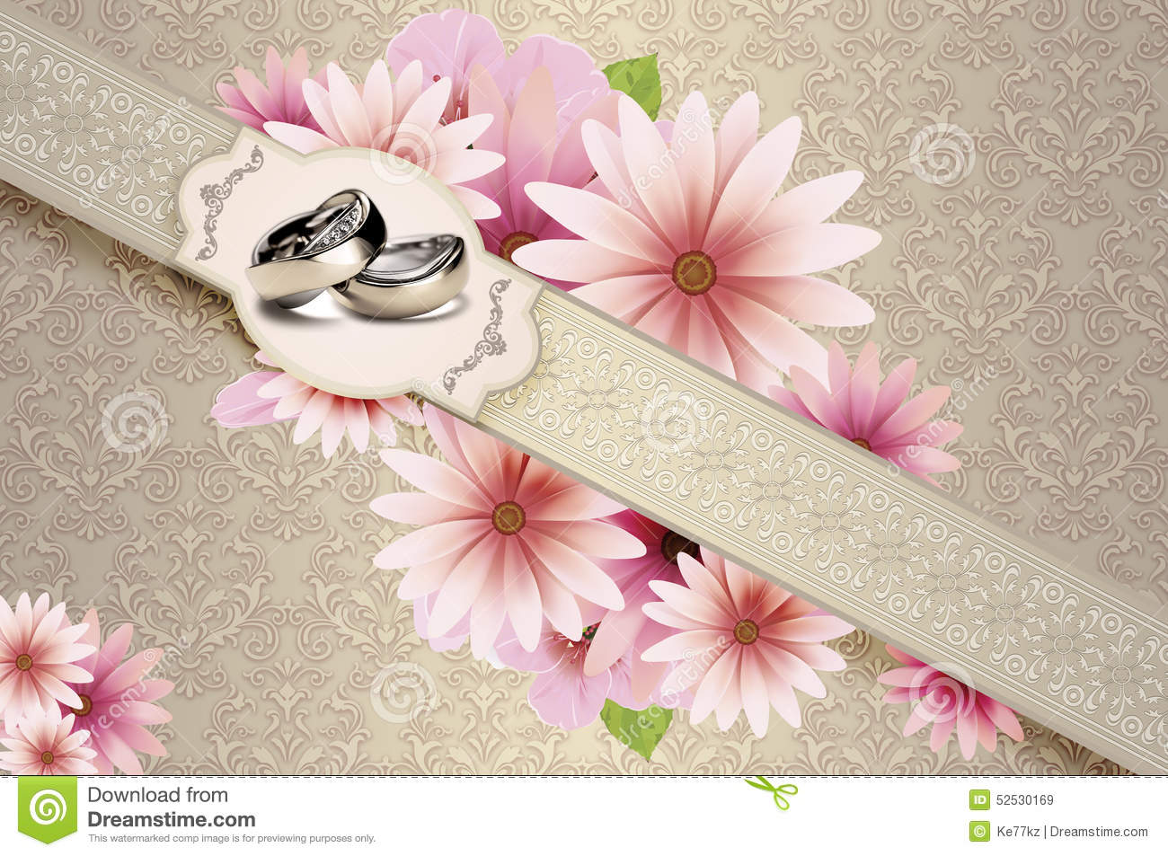 Wedding Invitation Golden Rings Flowers Stock Illustrations – 83 ...