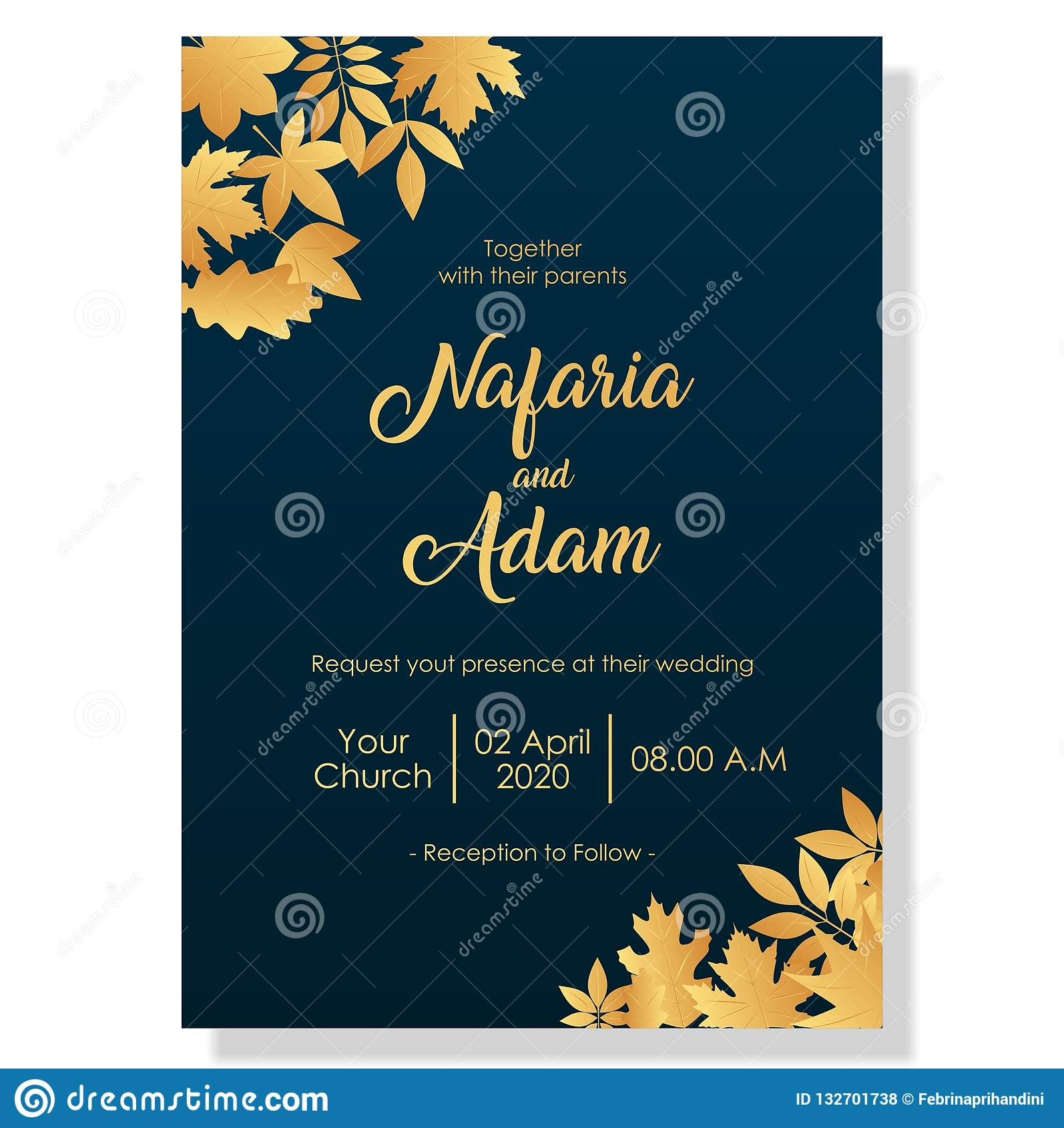 Wedding Invitation Template With Elegant Flowers Stock