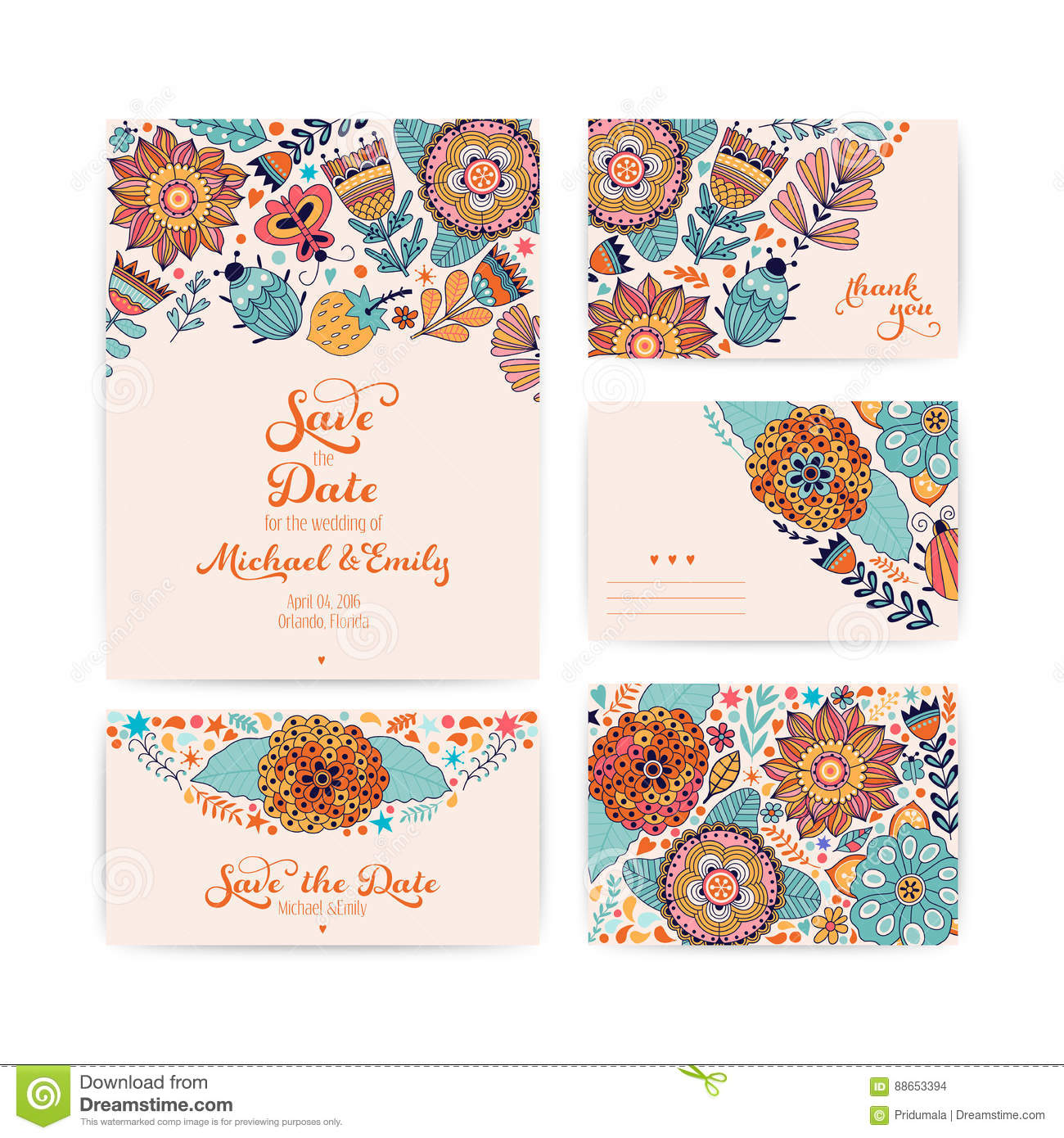 Wedding invitation template envelope thank you card stock vector download wedding invitation template envelope thank you card stock vector illustration of flora spiritdancerdesigns Image collections
