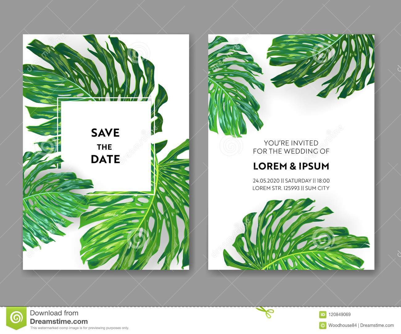Wedding Invitation Template With Monstera Palm Leaves Tropical Save