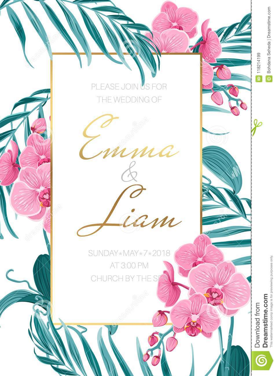 Wedding Invitation Template Orchid Tropical Leaves Stock Vector ...