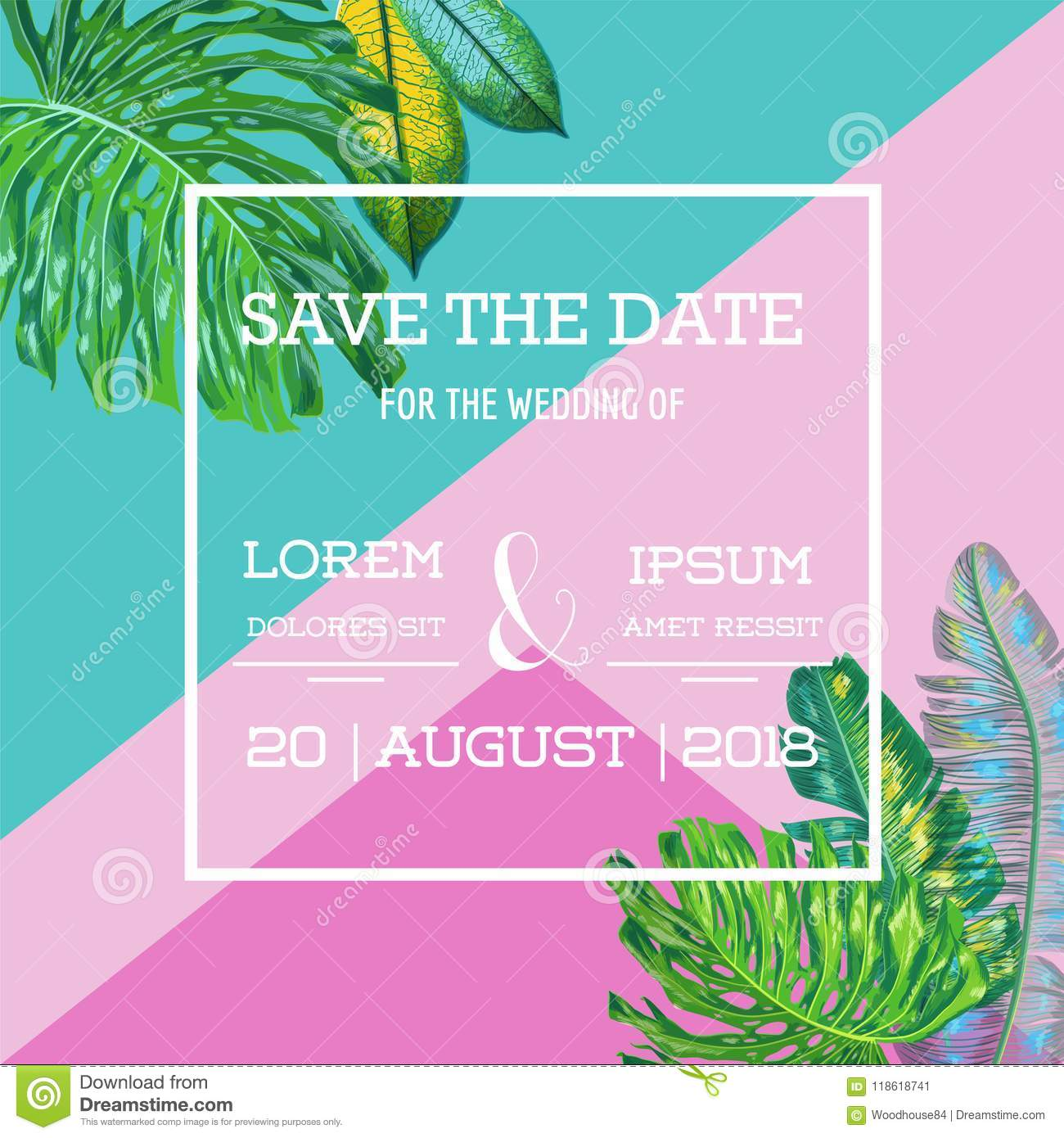 wedding invitation template with palm leaves tropical save the date