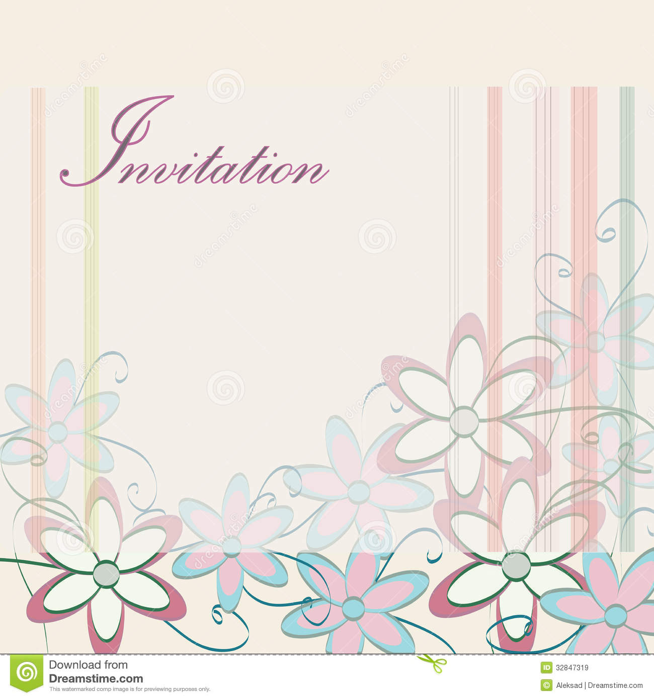 Wedding Invitation Template Party Card Design With Flowers Stock