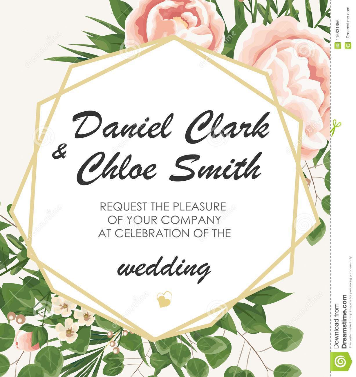 wedding invitation template with peonies flowers and green leav