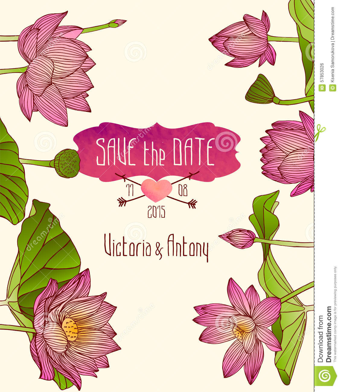 wedding invitation template with pink lotus flowers stock vector