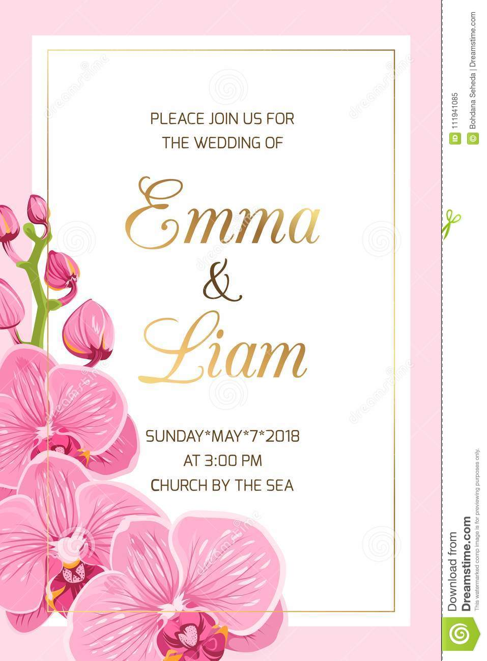 Wedding Invitation Template Pink Orchid Frame Gold Stock Vector