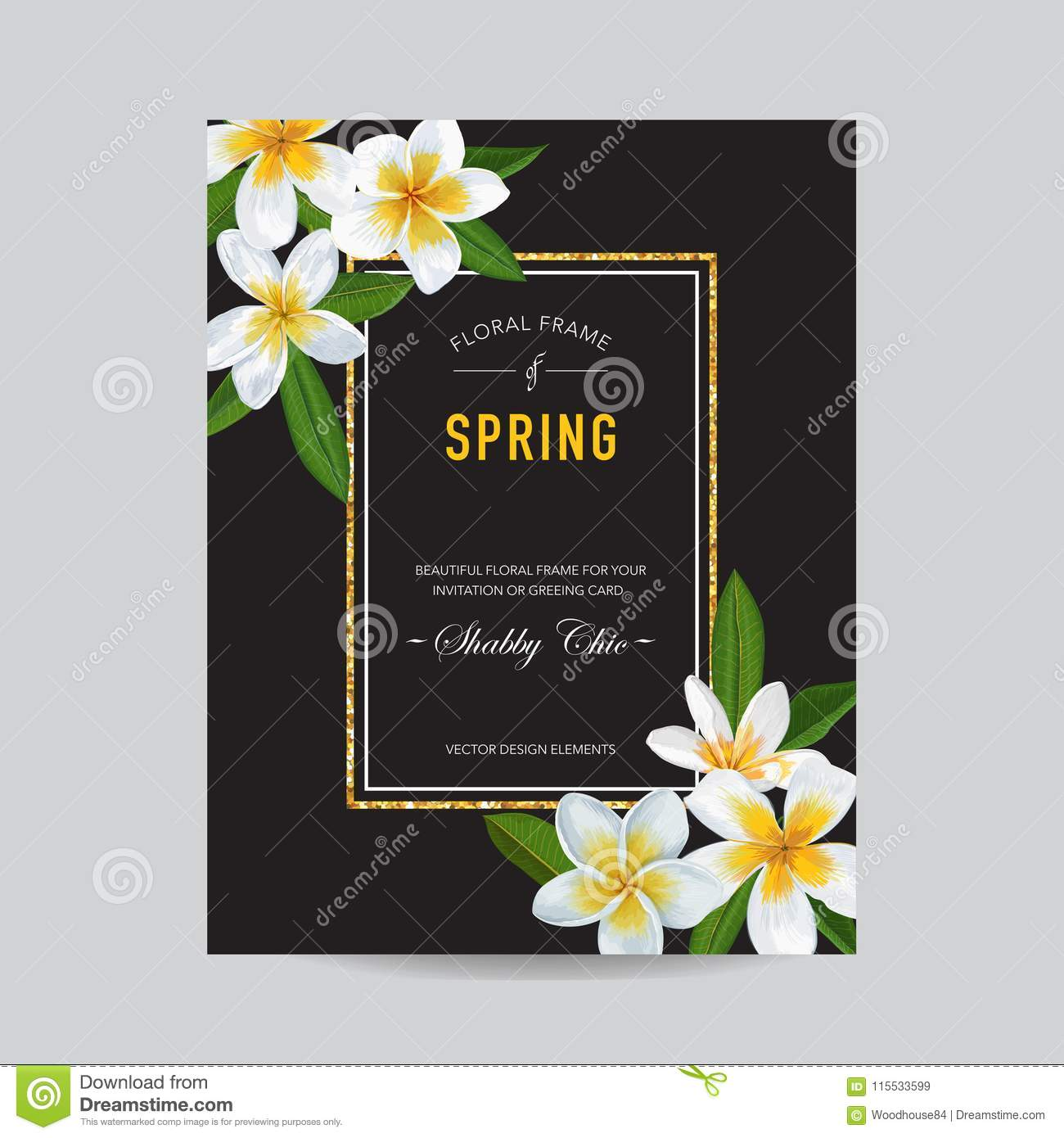Wedding Invitation Template With Plumeria Flowers. Tropical Floral ...
