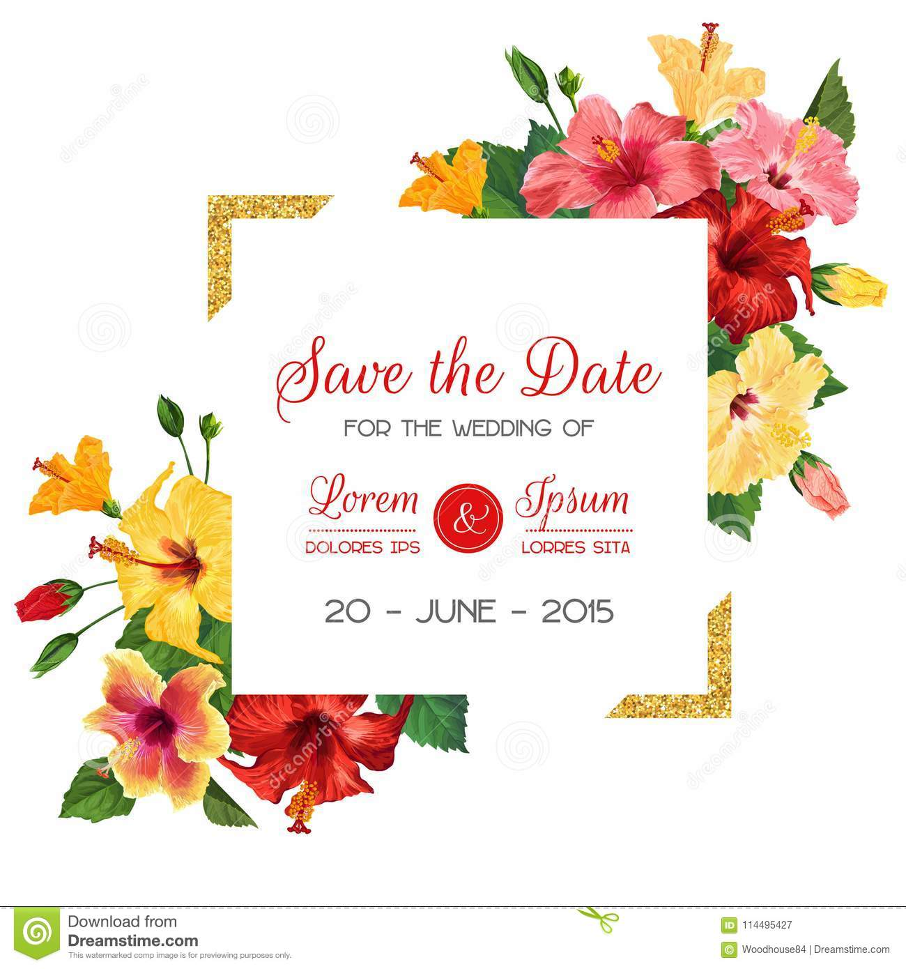 Wedding Invitation Template With Red Hibiscus Flowers And Golden