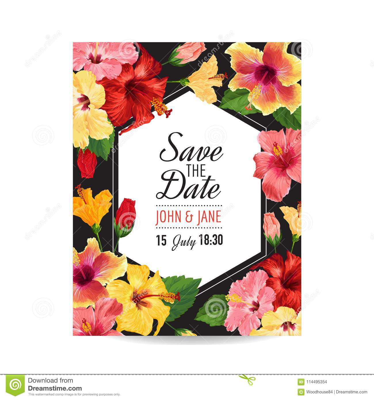 wedding invitation template with red hibiscus flowers save the date