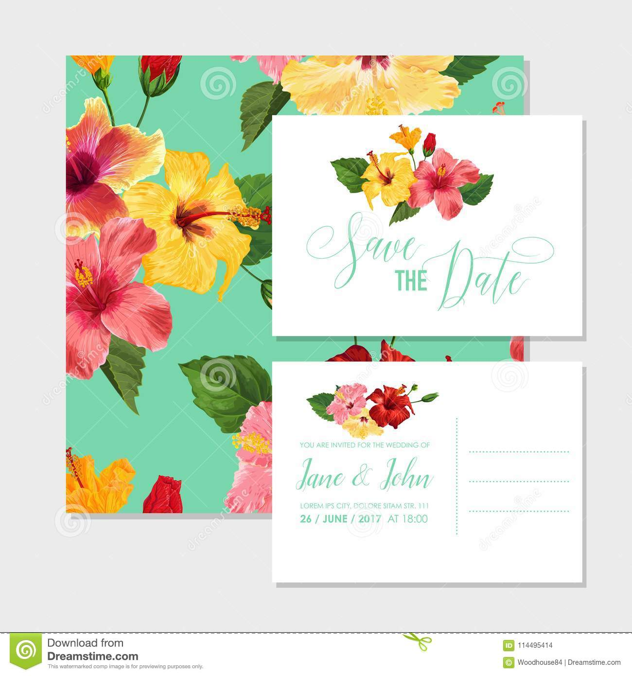 Wedding invitation template with red hibiscus flowers save the date wedding invitation template with red hibiscus flowers save the date floral card for greetings anniversary birthday baby shower party botanical design stopboris Images